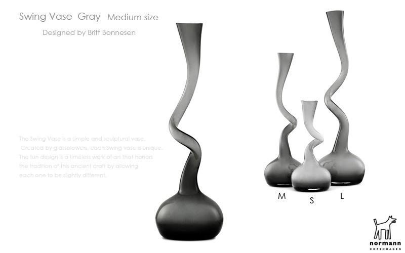 Swing Vase,スウィングベース,グレー,normann COPENHAGEN,ノーマンコペンハーゲン,北欧インテリア,北欧雑貨,デザイナーズインテリア,花瓶,フラワーベース
