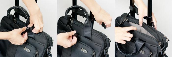 バッグをサッと取り出せるバックル付き
