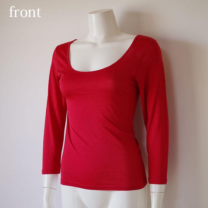 幸福のシルク赤下着 長袖シャツ