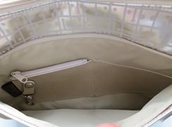 キキ2 新ユーズショルダーは背面ポケットは、縦型カード入れ・コイン入れ・キーホルダー付きなので小さな小物も簡単に収納できます。