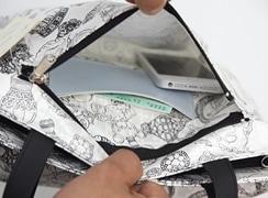 外前: ファスナーポケットは内側にカード入れ付き。マチのあるゆったりポケットなので、携帯電話屋ぶんこほんなども入ります。