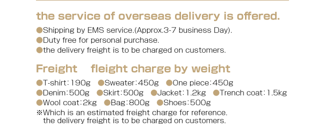 the service of overseas delivery is offered.