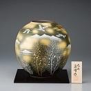 九谷焼 金彩木立連山に鶴 9号花瓶 131077