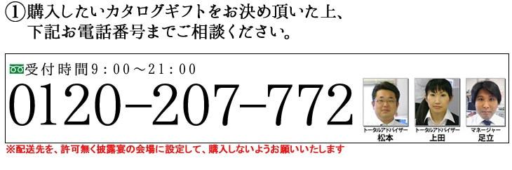 購入したいカタログギフトをお決め頂いた上、0120-207-772までご相談ください。