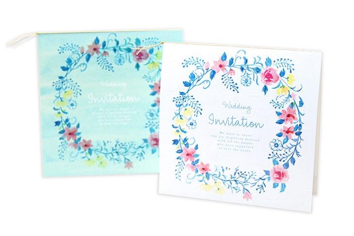 ジャスティナ(スクエア)【フラワー】結婚式招待状ペーパーアイテム リゾートウエディング画像1