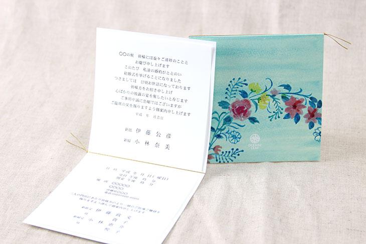 ジャスティナ(スクエア)【フラワー】結婚式招待状ペーパーアイテム リゾートウエディングにぴったり!画像4