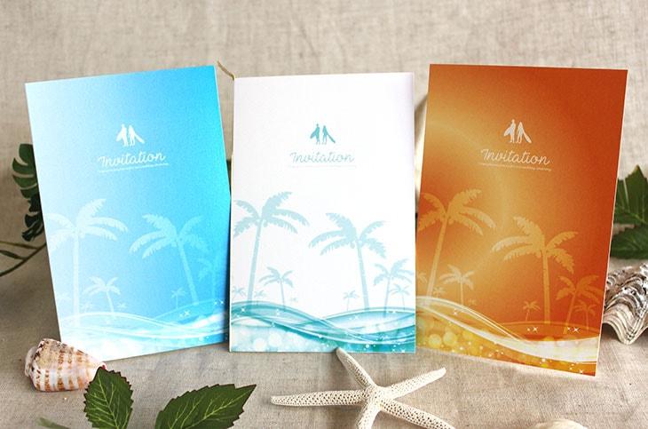 結婚式招待状 リゾートペーパーアイテム【スウェル(ロング型)】Oceanz leafシリーズ画像1