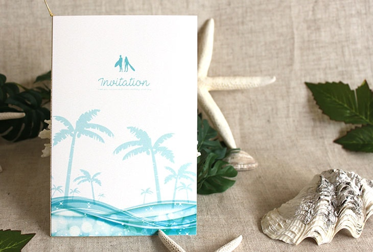 結婚式招待状 リゾートペーパーアイテム【スウェル(ロング型)】Oceanz leafシリーズ画像4