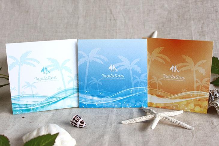 スウェル(スクエア) 結婚式招待状 沖縄南国ペーパーアイテム リゾートウエディング画像1