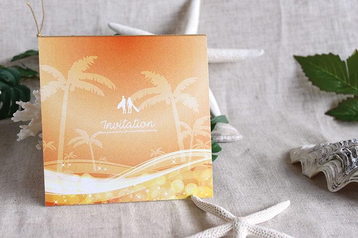 スウェル(スクエア) 結婚式招待状 沖縄南国ペーパーアイテム リゾートウエディングにぴったり!画像4