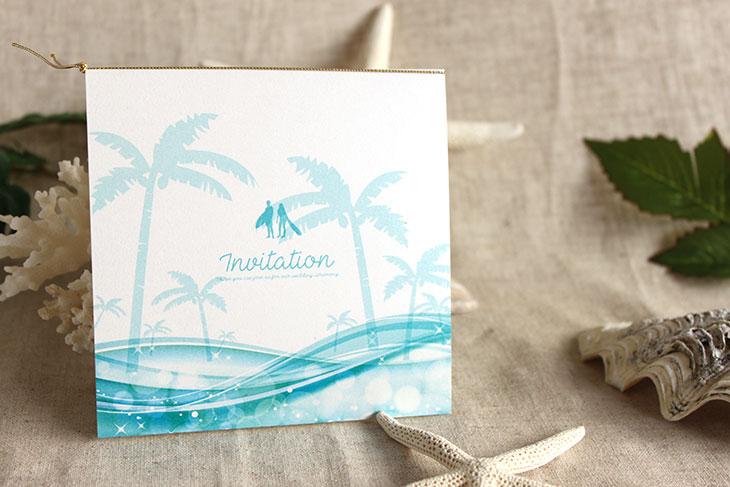 スウェル(スクエア) 結婚式招待状 沖縄南国ペーパーアイテム リゾートウエディングにぴったり!画像2