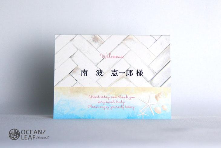 結婚式席札 リゾートペーパーアイテム【タイダルウェーヴ2】ライトブルー Oceanz leafシリーズ画像1