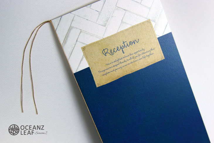 結婚式席次表 リゾートペーパーアイテム【タイダルウェーヴ2】ネイビー Oceanz leafシリーズ画像2