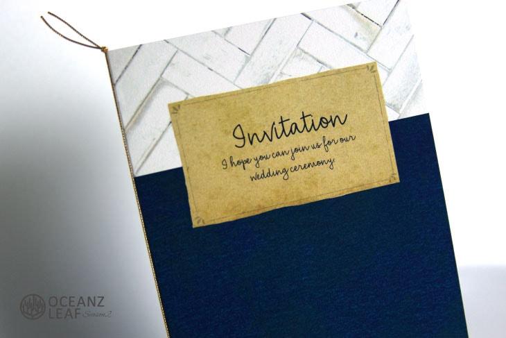 結婚式招待状 リゾートペーパーアイテム【タイダルウェーヴ2(ロング型)ネイビー】Oceanz leafシリーズ画像2