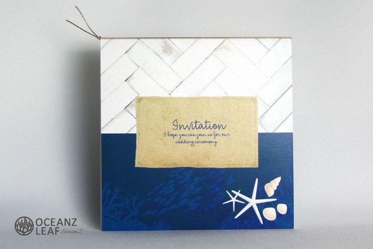 タイダルウェーヴ2(スクエア)ネイビー 結婚式招待状 沖縄南国ペーパーアイテム リゾートウエディング画像1