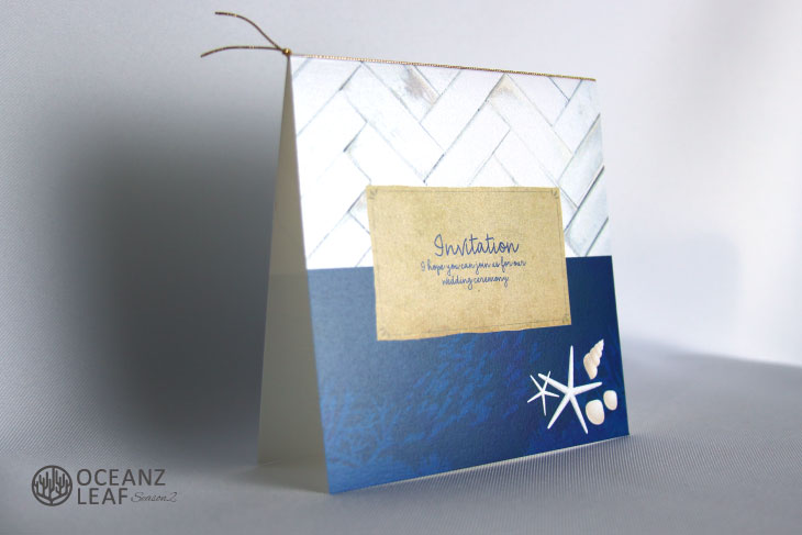 タイダルウェーブ2(スクエア)ネイビー 結婚式招待状 沖縄南国ペーパーアイテム リゾートウエディングにぴったり!画像2