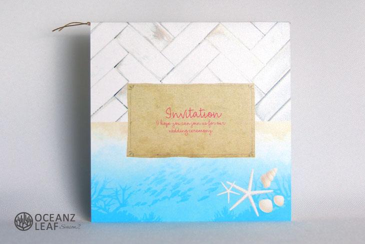 タイダルウェーヴ2(スクエア)ライトブルー 結婚式招待状 沖縄南国ペーパーアイテム リゾートウエディング画像1