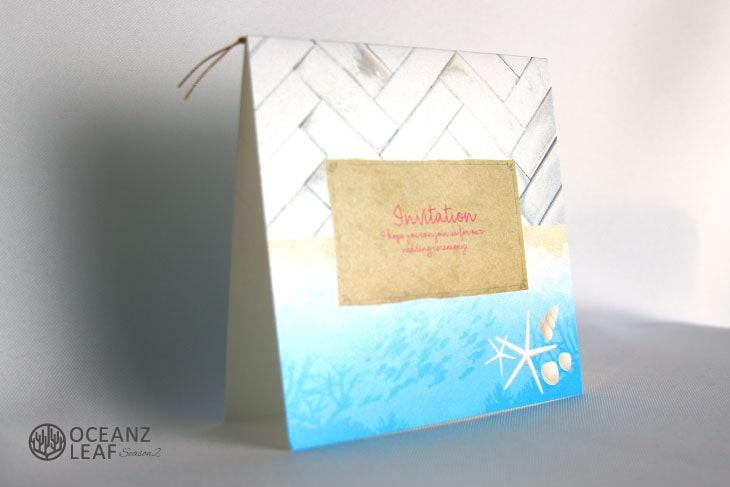 タイダルウェーブ2(スクエア)ライトブルー 結婚式招待状 沖縄南国ペーパーアイテム リゾートウエディングにぴったり!画像2