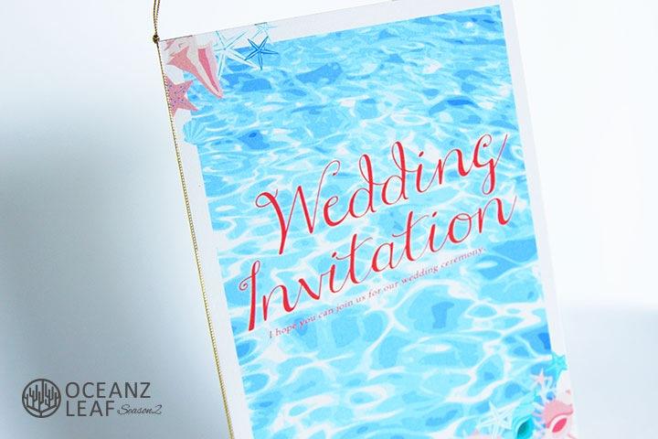 結婚式招待状 リゾートペーパーアイテム【アイダ(ロング型)シェル】Oceanz leafシリーズ画像2