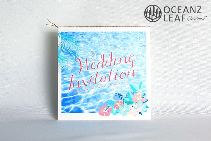 アイダ(スクエア)フラワー 結婚式招待状 沖縄南国ペーパーアイテム リゾートウエディング画像1