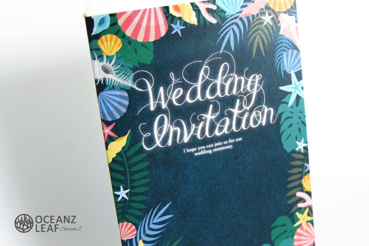 結婚式招待状 リゾートペーパーアイテム【アマンダ(ロング型)ダークグリーン】Oceanz leafシリーズ画像2