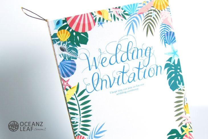 結婚式招待状 リゾートペーパーアイテム【アマンダ(ロング型)ホワイト】Oceanz leafシリーズ画像2