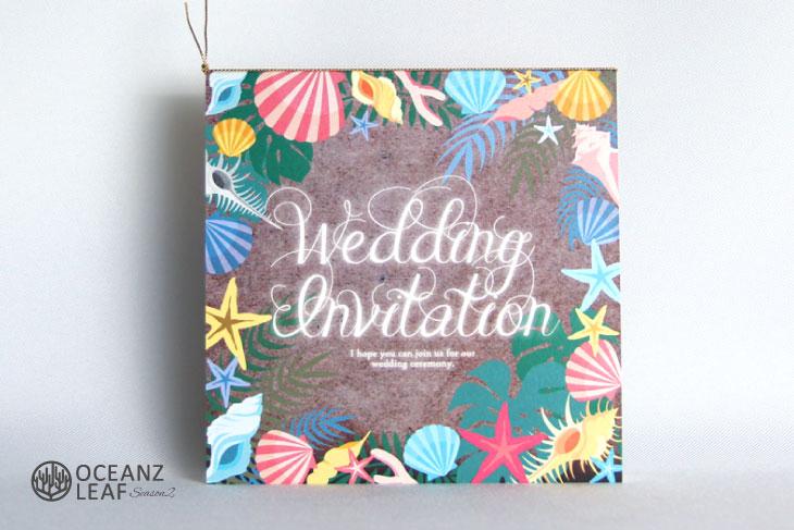アマンダ(スクエア)ブラウン 結婚式招待状 沖縄南国ペーパーアイテム リゾートウエディング画像1