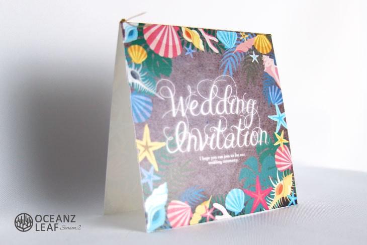 アマンダ(スクエア)ブラウン 結婚式招待状 沖縄南国ペーパーアイテム リゾートウエディングにぴったり!画像2