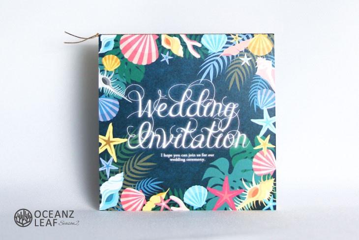 アマンダ(スクエア)ダークグリーン 結婚式招待状 沖縄南国ペーパーアイテム リゾートウエディング画像1