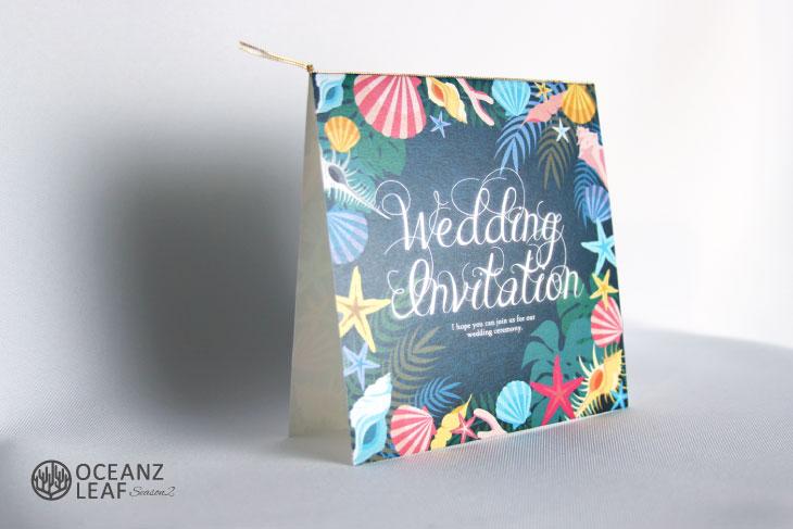 アマンダ(スクエア)ダークグリーン 結婚式招待状 沖縄南国ペーパーアイテム リゾートウエディングにぴったり!画像2
