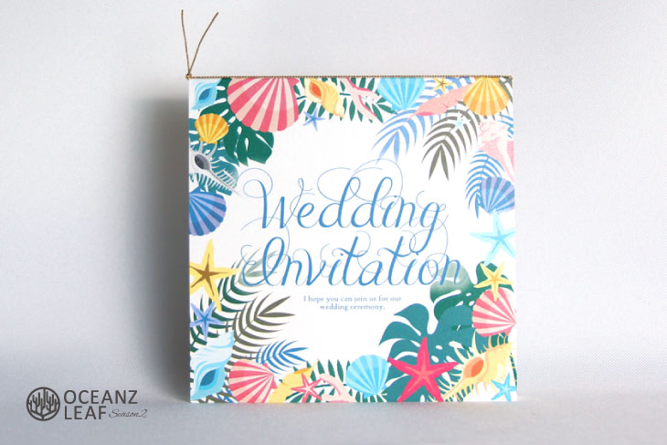 アマンダ(スクエア)ホワイト 結婚式招待状 沖縄南国ペーパーアイテム リゾートウエディング画像1