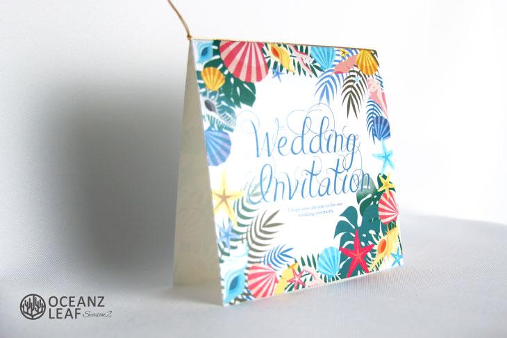 アマンダ(スクエア)ホワイト 結婚式招待状 沖縄南国ペーパーアイテム リゾートウエディングにぴったり!画像2