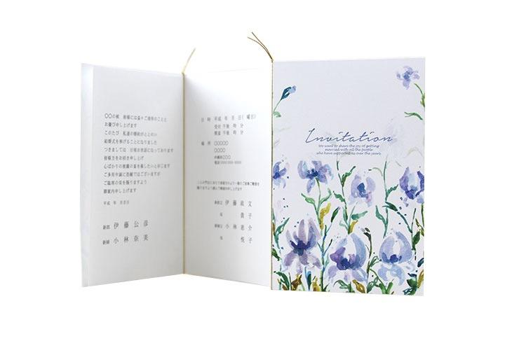 結婚式招待状 リゾートペーパーアイテム【ビオラ(ロング型)】フラワーシリーズ Oceanz leafシリーズ画像4