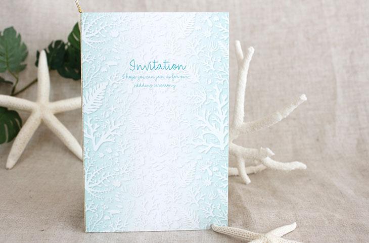 結婚式招待状 リゾートペーパーアイテム【コーラルフォレスト(ロング型)】Oceanz leafシリーズ画像3