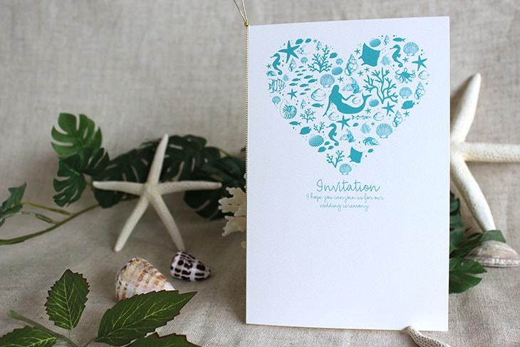 結婚式招待状 リゾートペーパーアイテム【コーラルハート(ロング型)】Oceanz leafシリーズ画像2