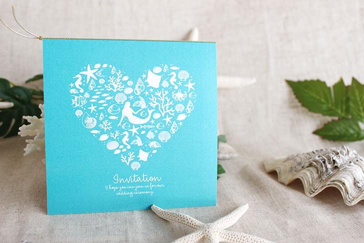 コーラルハート(スクエア) 結婚式招待状 沖縄南国ペーパーアイテム リゾートウエディングにぴったり!画像2