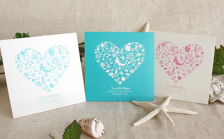 コーラルハート(スクエア) 結婚式招待状 沖縄南国ペーパーアイテム リゾートウエディング画像1