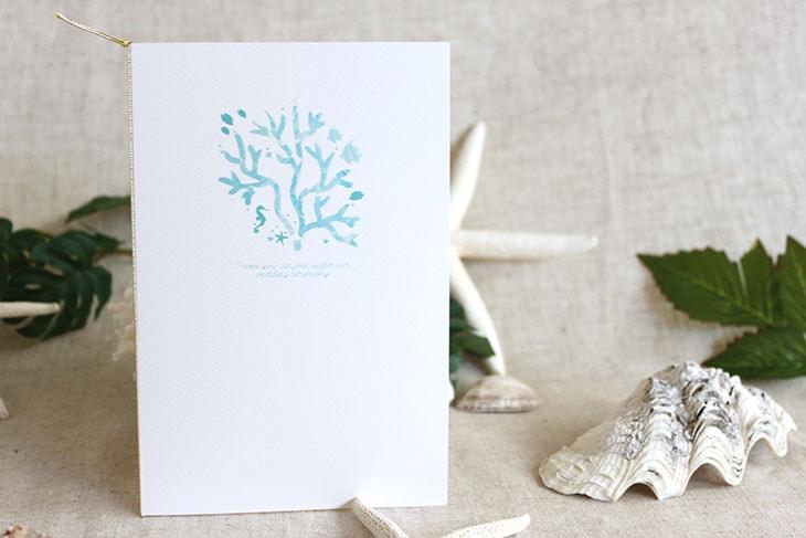 結婚式招待状 リゾートペーパーアイテム【コーラルハウス(ロング型)】Oceanz leafシリーズ画像2
