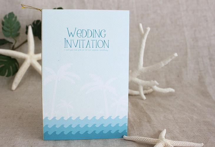 結婚式招待状 リゾートペーパーアイテム【カレント(ロング型)】Oceanz leafシリーズ画像2