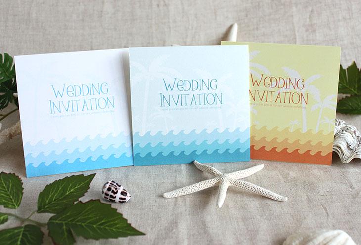 カレント(スクエア) 結婚式招待状 沖縄南国ペーパーアイテム リゾートウエディング画像1