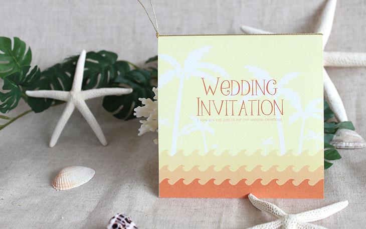 カレント(スクエア) 結婚式招待状 沖縄南国ペーパーアイテム リゾートウエディングにぴったり!画像2