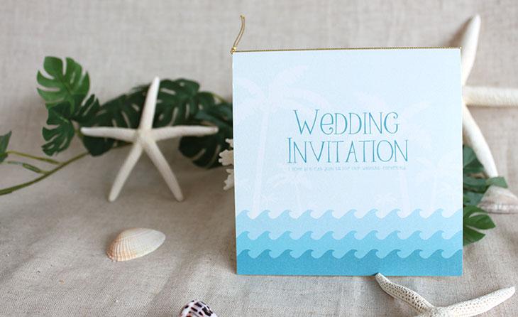 カレント(スクエア) 結婚式招待状 沖縄南国ペーパーアイテム リゾートウエディングにぴったり!画像3