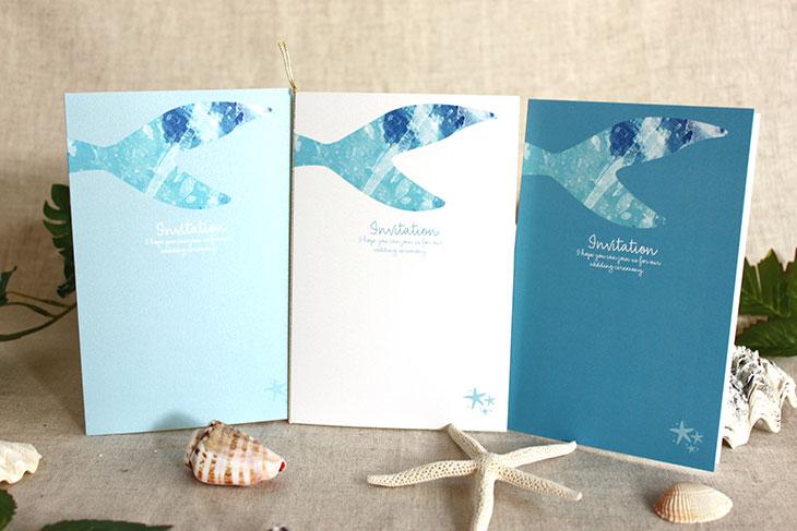 結婚式招待状 リゾートペーパーアイテム【グラッシー(スクエア型)】Oceanz leafシリーズ画像1