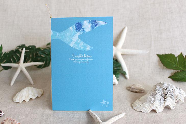 結婚式招待状 リゾートペーパーアイテム【グラッシー(スクエア型)】Oceanz leafシリーズ画像2