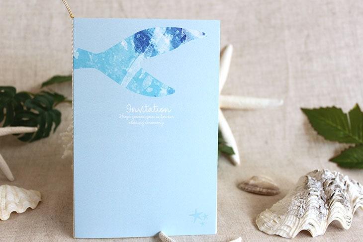 結婚式招待状 リゾートペーパーアイテム【グラッシー(スクエア型)】Oceanz leafシリーズ画像3