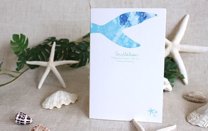 結婚式招待状 リゾートペーパーアイテム【グラッシー(スクエア型)】Oceanz leafシリーズ画像4