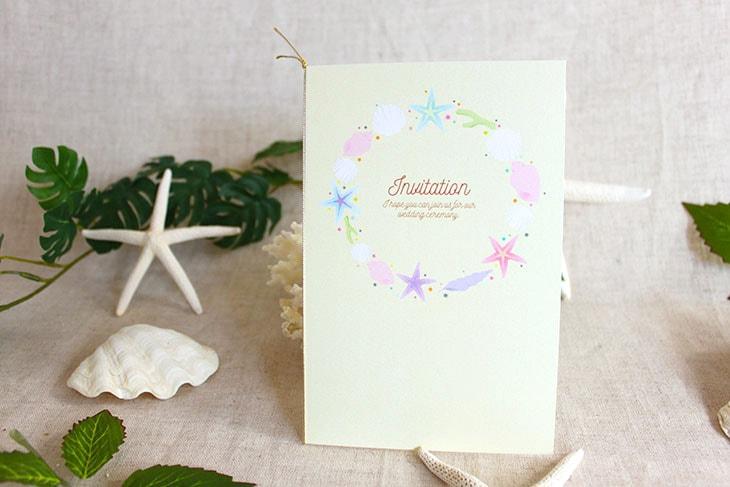 結婚式招待状 リゾートペーパーアイテム【アイランドシェル(スクエア型)】Oceanz leafシリーズ画像3