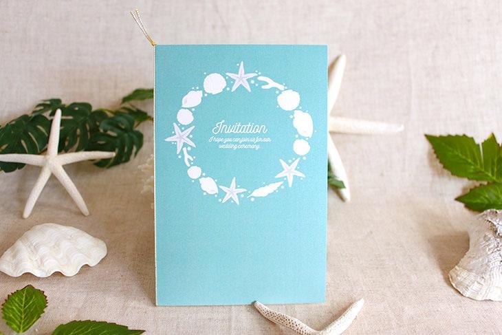 結婚式招待状 リゾートペーパーアイテム【アイランドシェル(スクエア型)】Oceanz leafシリーズ画像4