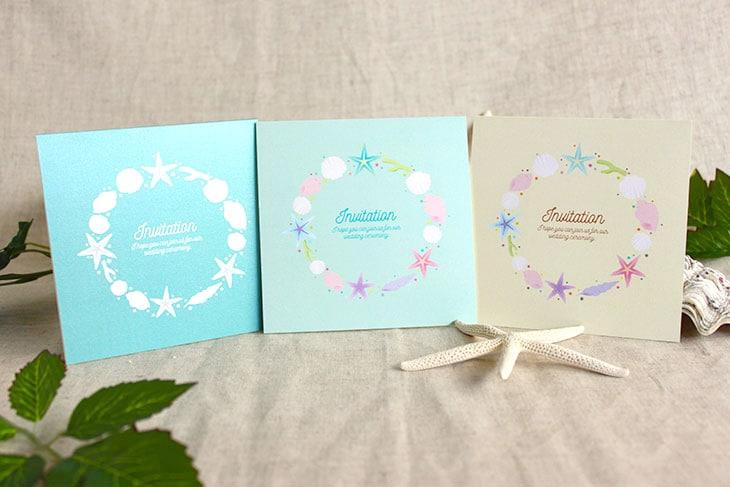 アイランドシェル(スクエア) 結婚式招待状 沖縄南国ペーパーアイテム リゾートウエディング画像1