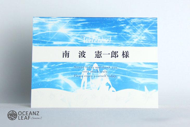 結婚式席札 リゾートペーパーアイテム【ニーナ】ブルー Oceanz leafシリーズ画像1